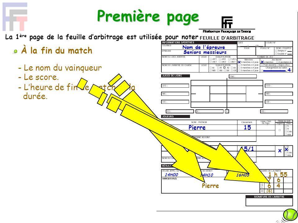 Première page 7 6 Pierre 15 Jacques 15/1 x x 4 Pierre 6 4 1 h 55 Nom de l'épreuve Seniors messieurs La 1 ère page de la feuille darbitrage est utilisé