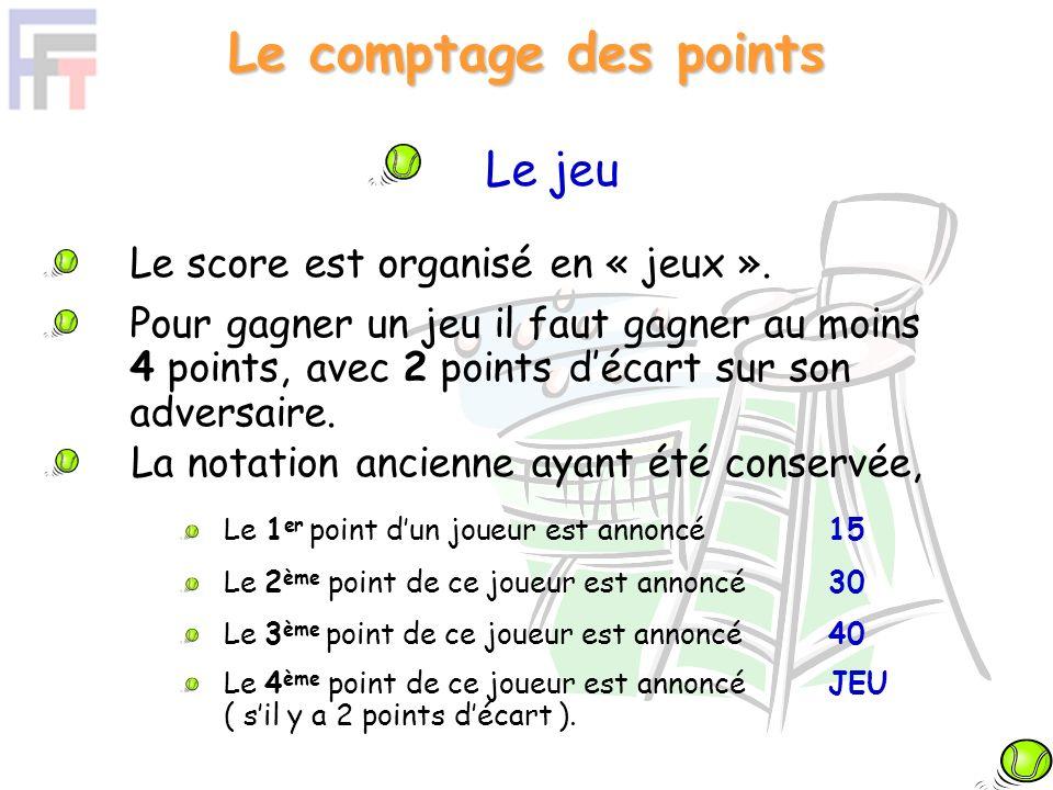 Le jeu Le score est organisé en « jeux ». Pour gagner un jeu il faut gagner au moins 4 points, avec 2 points décart sur son adversaire. La notation an