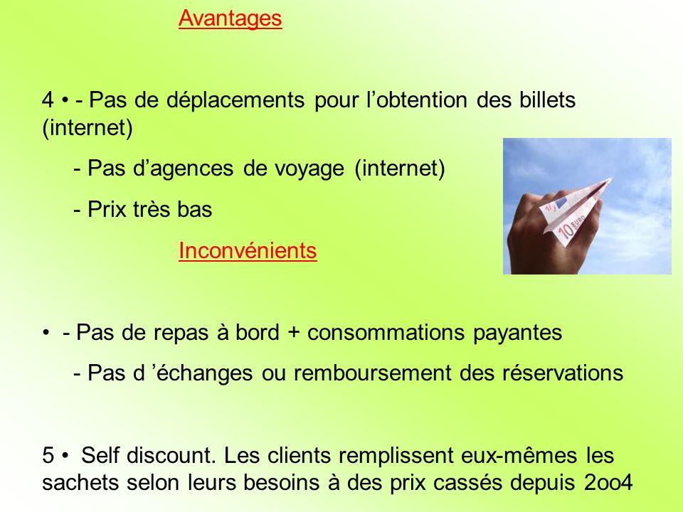 Avantages 4 - Pas de déplacements pour lobtention des billets (internet) - Pas dagences de voyage (internet) - Prix très bas Inconvénients - Pas de re