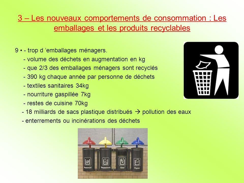 3 – Les nouveaux comportements de consommation : Les emballages et les produits recyclables 9 - trop d emballages ménagers. - volume des déchets en au