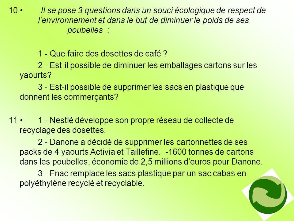 10 Il se pose 3 questions dans un souci écologique de respect de lenvironnement et dans le but de diminuer le poids de ses poubelles : 1 - Que faire d
