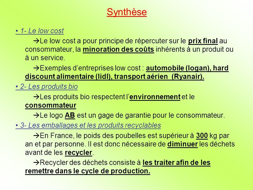 Synthèse 1- Le low cost Le low cost a pour principe de répercuter sur le prix final au consommateur, la minoration des coûts inhérents à un produit ou