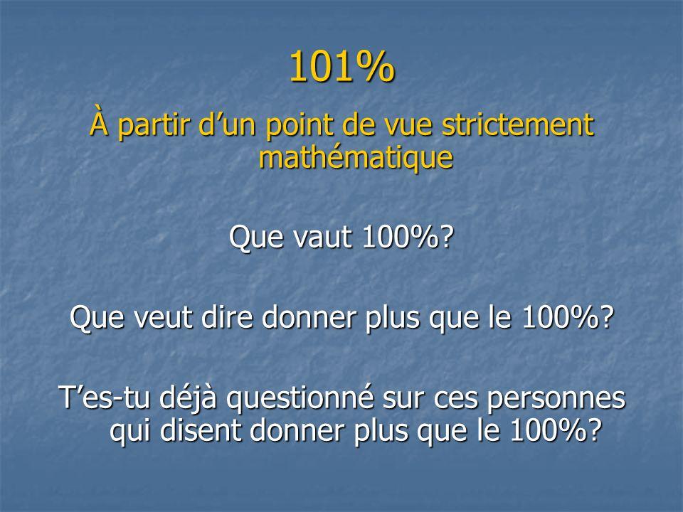 101% À partir dun point de vue strictement mathématique Que vaut 100%.