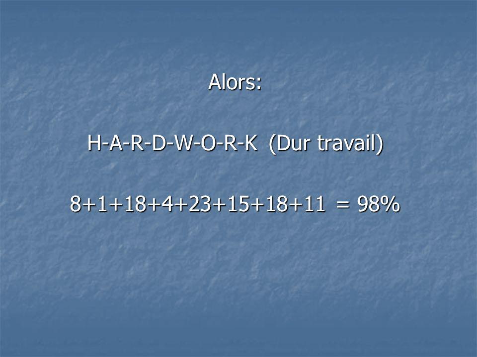 Alors: H-A-R-D-W-O-R-K (Dur travail) 8+1+18+4+23+15+18+11 = 98%