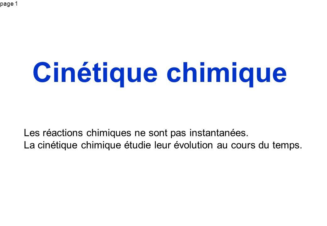 page 1 Cinétique chimique Les réactions chimiques ne sont pas instantanées. La cinétique chimique étudie leur évolution au cours du temps.