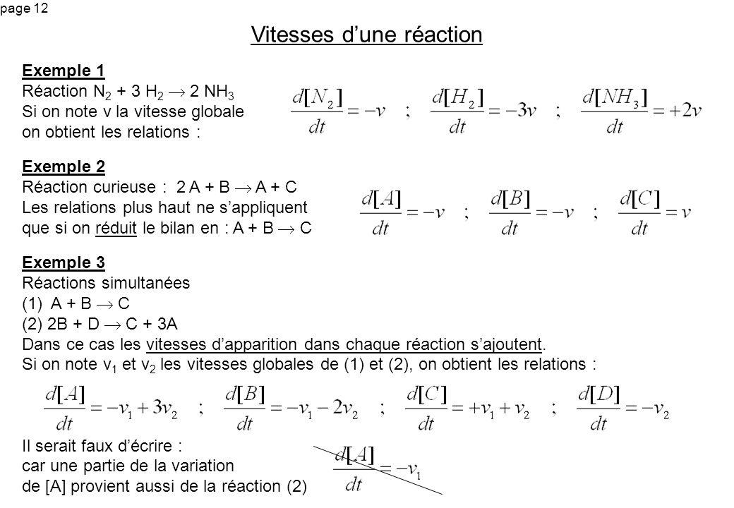 page 12 Exemple 1 Réaction N 2 + 3 H 2 2 NH 3 Si on note v la vitesse globale on obtient les relations : Vitesses dune réaction Exemple 2 Réaction cur