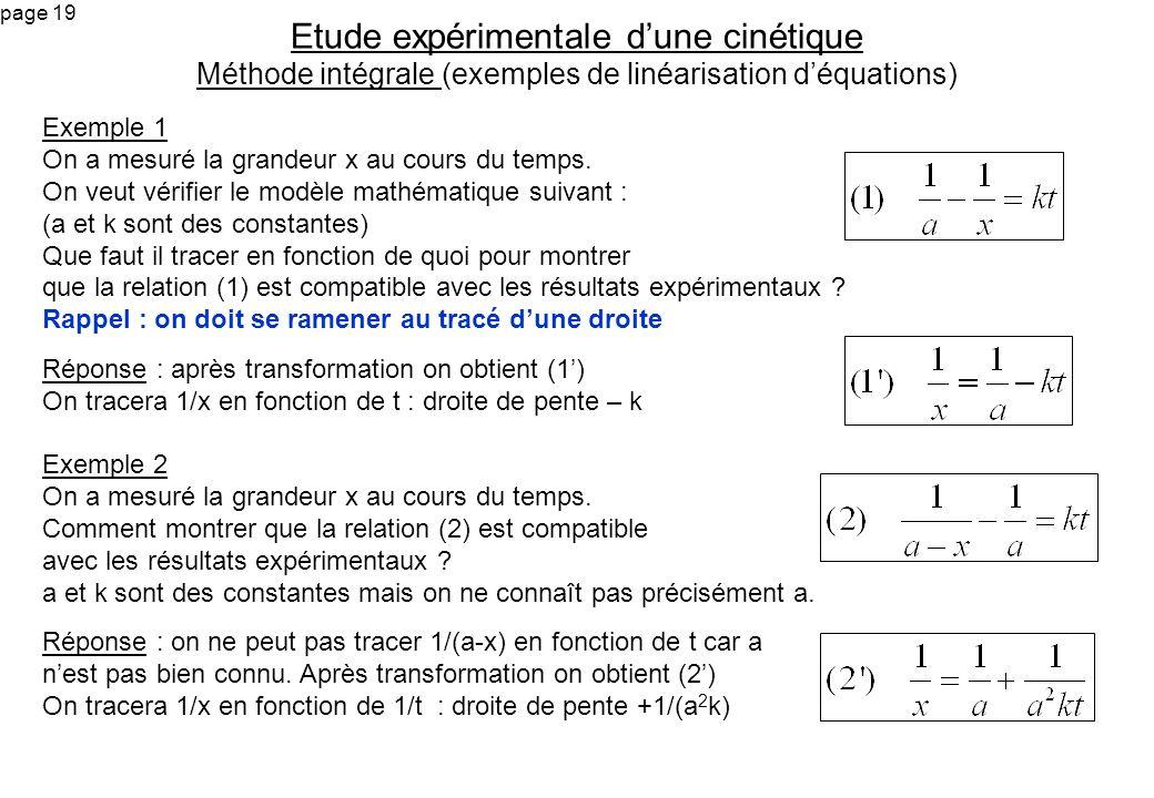 page 19 Exemple 1 On a mesuré la grandeur x au cours du temps. On veut vérifier le modèle mathématique suivant : (a et k sont des constantes) Que faut