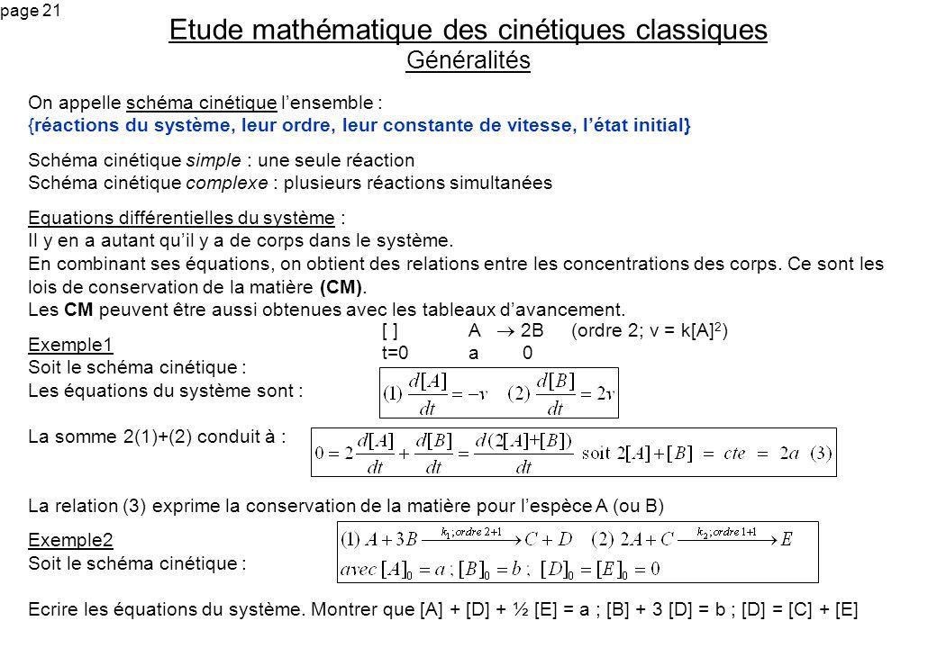 page 21 On appelle schéma cinétique lensemble : {réactions du système, leur ordre, leur constante de vitesse, létat initial} Schéma cinétique simple :