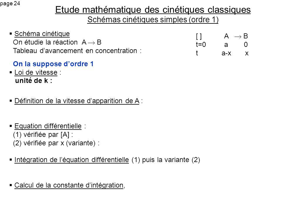 page 24 Schéma cinétique On étudie la réaction A B Tableau davancement en concentration : On la suppose dordre 1 Loi de vitesse : unité de k : Définit
