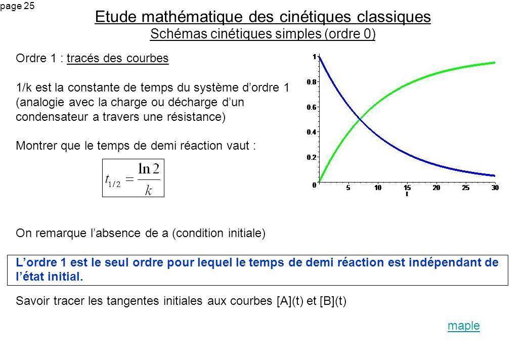 page 25 Ordre 1 : tracés des courbes 1/k est la constante de temps du système dordre 1 (analogie avec la charge ou décharge dun condensateur a travers