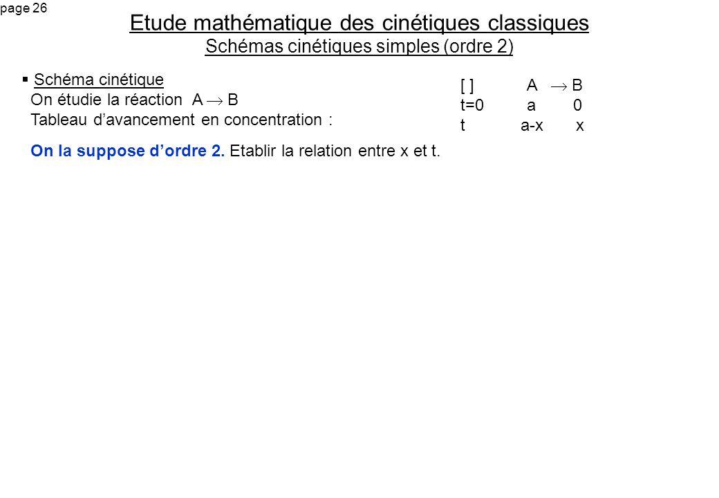 page 26 Schéma cinétique On étudie la réaction A B Tableau davancement en concentration : On la suppose dordre 2. Etablir la relation entre x et t. Et