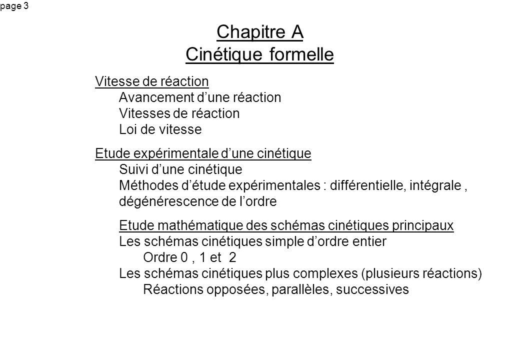 page 3 Chapitre A Cinétique formelle Vitesse de réaction Avancement dune réaction Vitesses de réaction Loi de vitesse Etude expérimentale dune cinétiq
