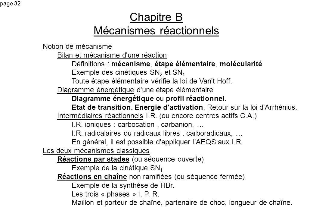 page 32 Chapitre B Mécanismes réactionnels Notion de mécanisme Bilan et mécanisme d'une réaction Définitions : mécanisme, étape élémentaire, molécular