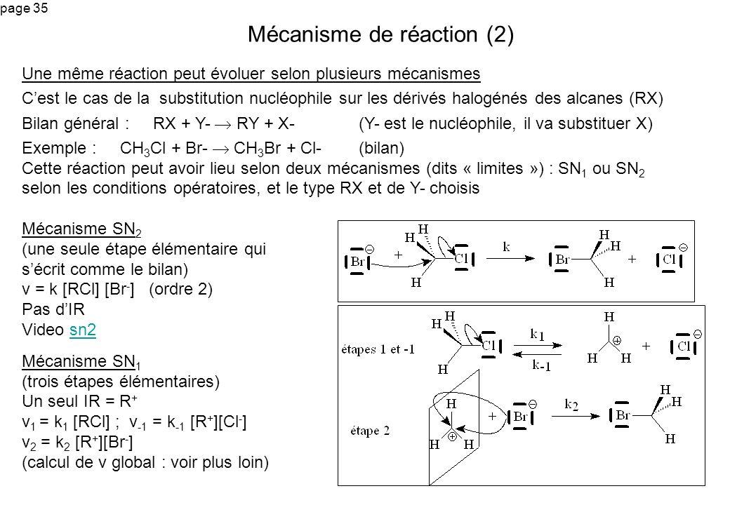 page 35 Une même réaction peut évoluer selon plusieurs mécanismes Cest le cas de la substitution nucléophile sur les dérivés halogénés des alcanes (RX