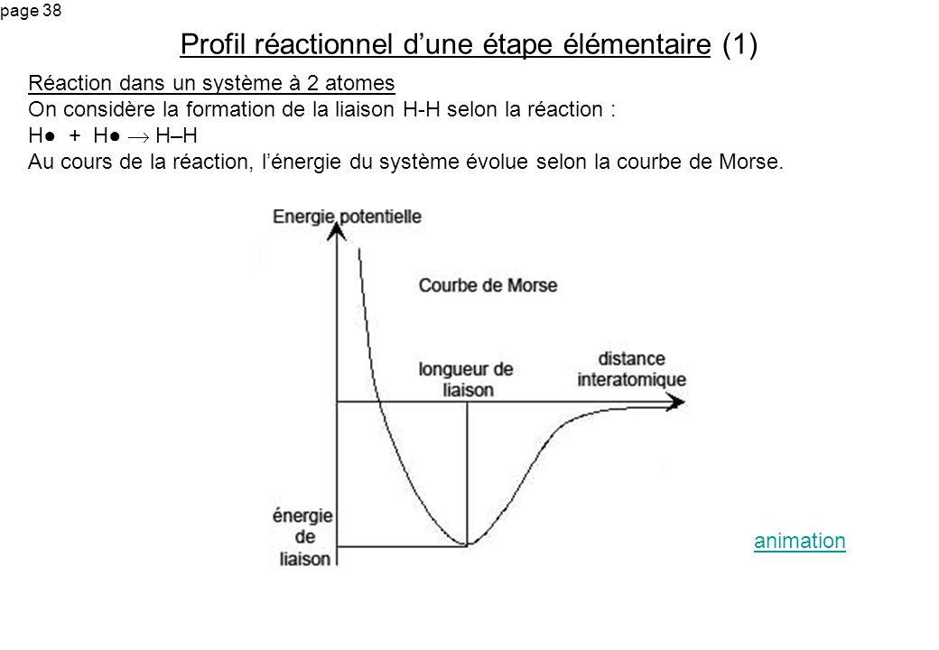 page 38 Réaction dans un système à 2 atomes On considère la formation de la liaison H-H selon la réaction : H + H H–H Au cours de la réaction, lénergi