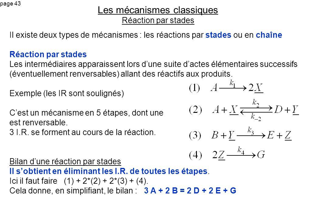 page 43 Il existe deux types de mécanismes : les réactions par stades ou en chaîne Réaction par stades Les intermédiaires apparaissent lors dune suite