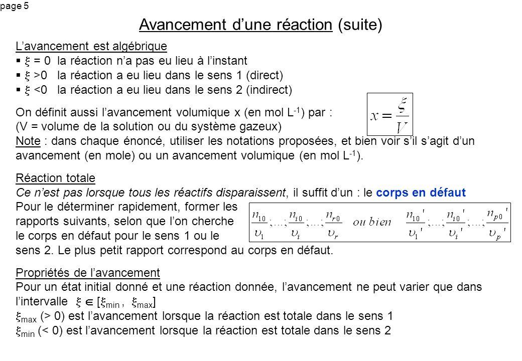 page 6 Soit la réaction : N 2 + 3 H 2 2 NH 3 Létat initial est (moles)1 2,4 3 1) Déterminer lavancement maximum et minimum de la réaction 2) On donne à linstant t, un avancement de : a) 0,6 mole b) 1 mole c) -1 mole d) -2 moles Dire si létat du système à linstant t existe, et dans ce cas donner cet état Cas de plusieurs réactions simultanées Dans le récipient a lieu les deux réactions (en même temps) (1) A + 2 B C + D (2) C + B 3 A + E Létat initial du système est (en moles) : n 0 (A) = 1 ; n 0 (B) = 1,5 ; n 0 (C) = 0,5 ; n 0 (D) = 0,2 ; n 0 (E) = 0 1) On note à linstant t, 1 et 2 les avancements des réactions (1) et (2).