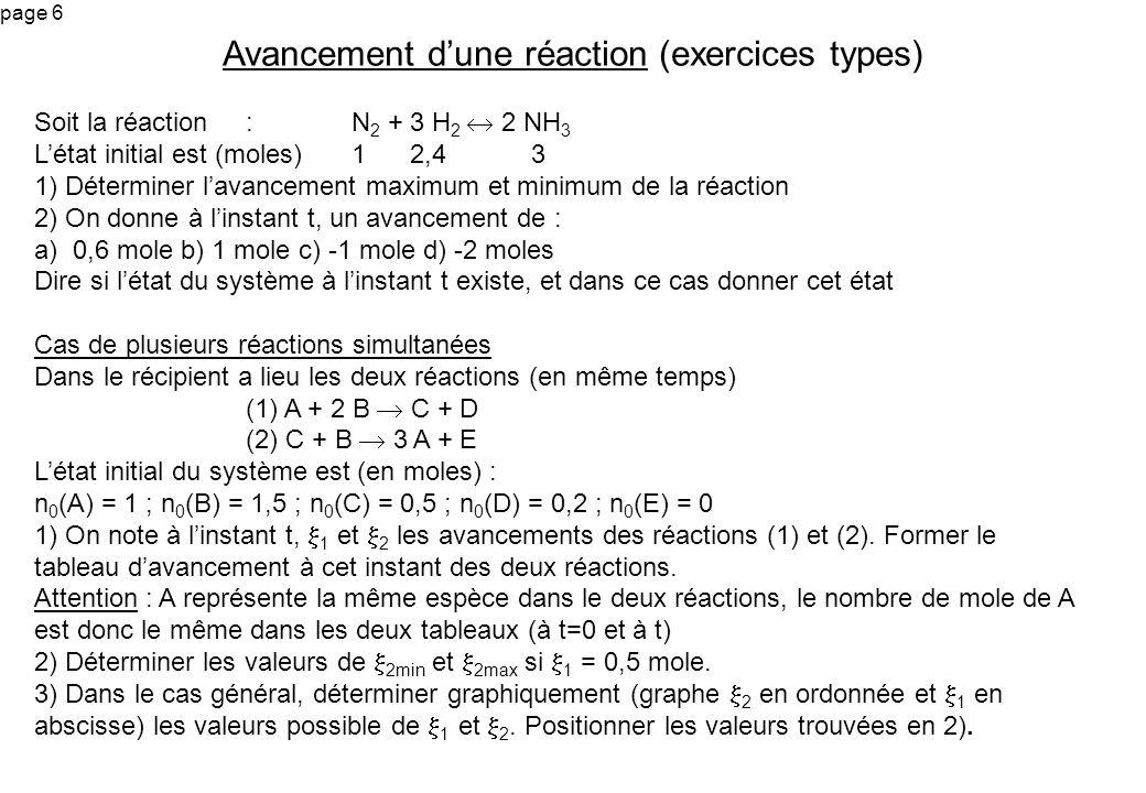page 7 Cas de plusieurs réactions simultanées (correction) 1) En rouge : les quantités initiales, En bleu : contributions apportées par la réaction (1) (supposée seule) En noir : contributions apportées par la réaction (2) (supposée seule) (1) A + 2 B C + D 1 - 1 + 3 2 1,5 - 2 1 - 2 0,5 + 1 - 2 0,2 + 1 (2) C + B 3 A + E 0,5 + 1 - 2 1,5 - 2 1 - 2 1 - 1 + 3 2 0 + 2 2) On suppose 1 = 0,5 mole Le calcul de 2max se fait en supposant (2) totale dans le sens 1.