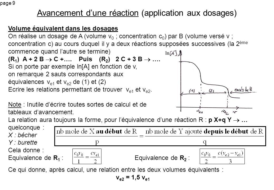 page 9 Volume équivalent dans les dosages On réalise un dosage de A (volume v 0 ; concentration c 0 ) par B (volume versé v ; concentration c) au cour