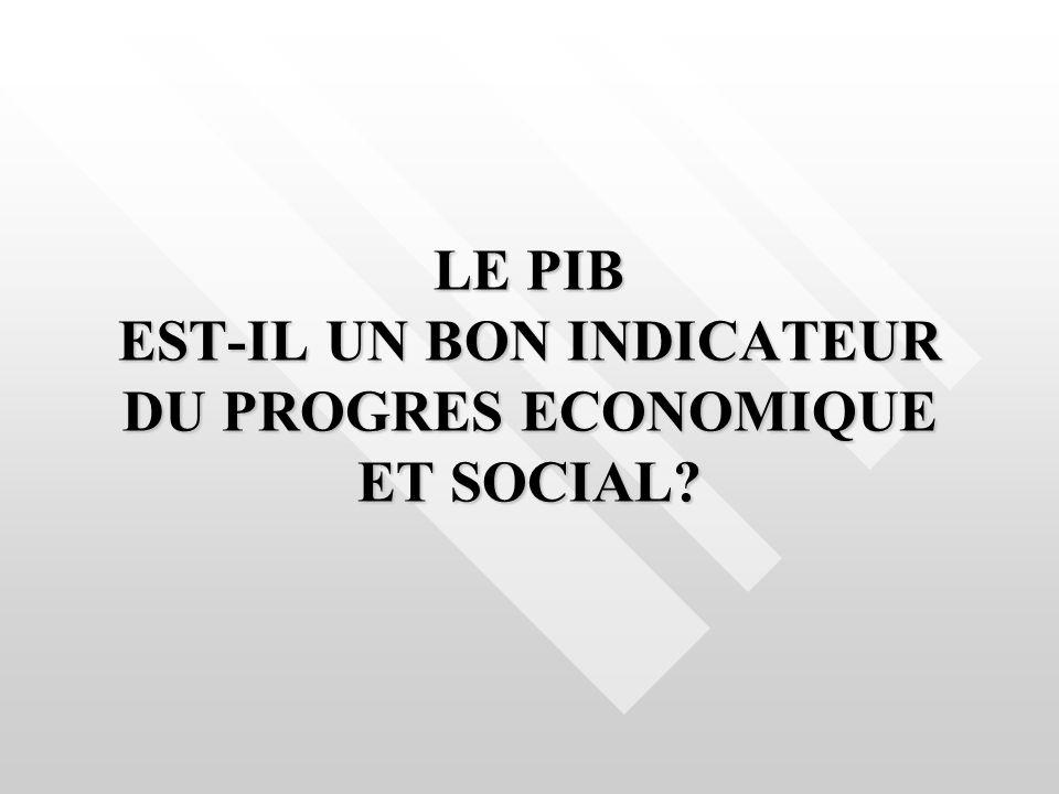 LE PIB EST-IL UN BON INDICATEUR DU PROGRES ECONOMIQUE ET SOCIAL?