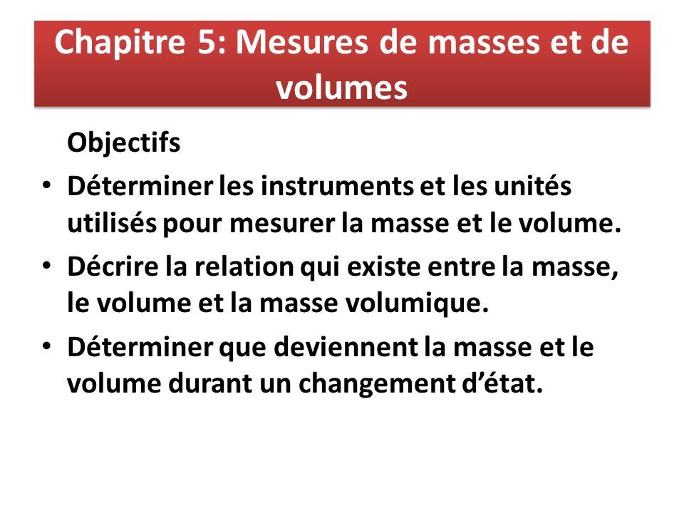 Chapitre 5: Mesures de masses et de volumes Objectifs Déterminer les instruments et les unités utilisés pour mesurer la masse et le volume. Décrire la