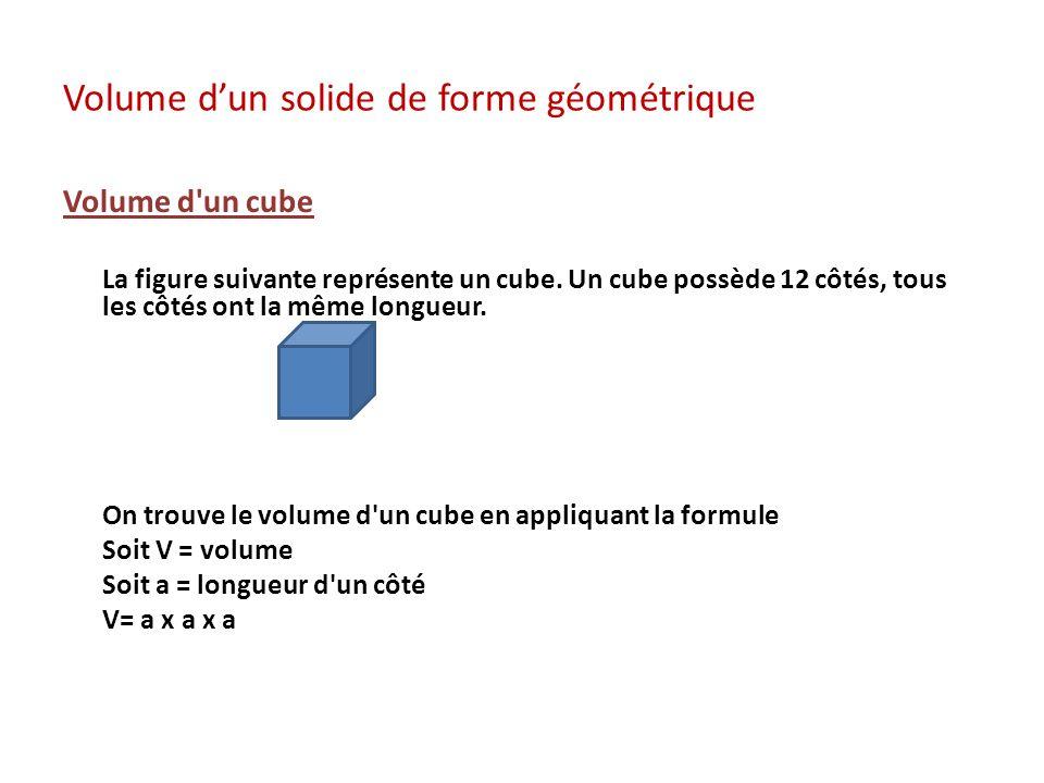 Volume dun solide de forme géométrique Volume d'un cube La figure suivante représente un cube. Un cube possède 12 côtés, tous les côtés ont la même lo