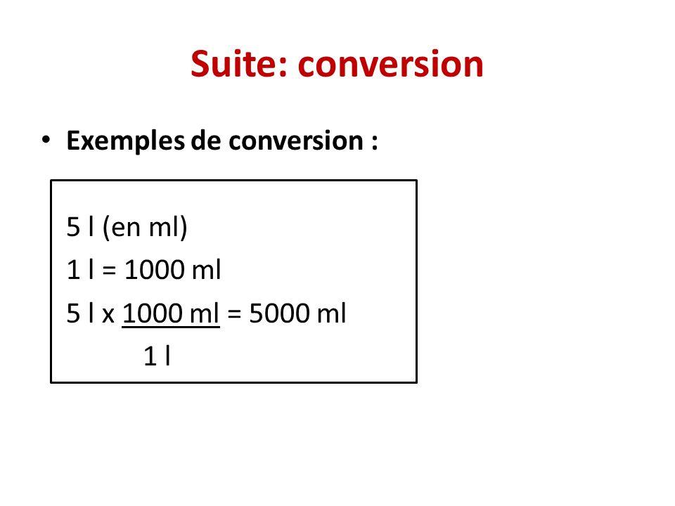 Suite: conversion Exemples de conversion : 5 l (en ml) 1 l = 1000 ml 5 l x 1000 ml = 5000 ml 1 l
