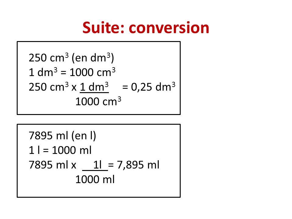 Suite: conversion 250 cm 3 (en dm 3 ) 1 dm 3 = 1000 cm 3 250 cm 3 x 1 dm 3 = 0,25 dm 3 1000 cm 3 7895 ml (en l) 1 l = 1000 ml 7895 ml x 1l = 7,895 ml