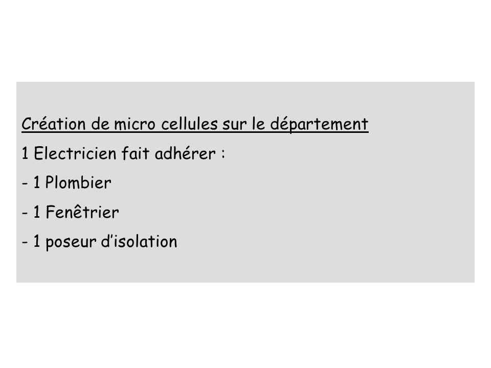 Création de micro cellules sur le département 1 Electricien fait adhérer : - 1 Plombier - 1 Fenêtrier - 1 poseur disolation