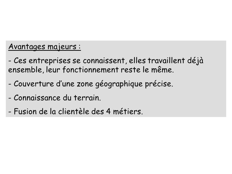 Avantages majeurs : - Ces entreprises se connaissent, elles travaillent déjà ensemble, leur fonctionnement reste le même. - Couverture dune zone géogr