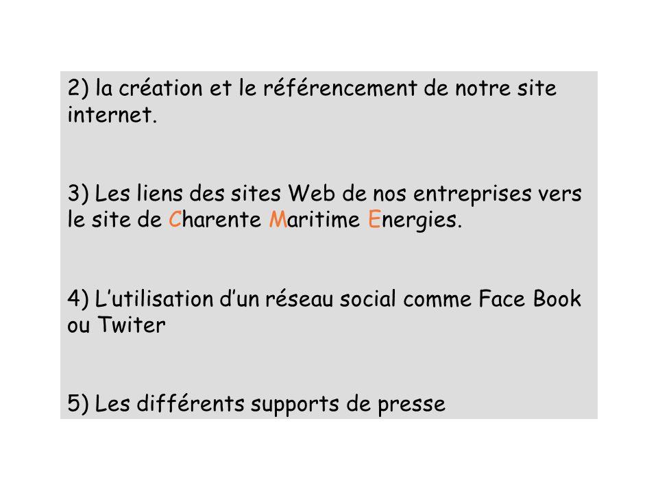 2) la création et le référencement de notre site internet. 3) Les liens des sites Web de nos entreprises vers le site de Charente Maritime Energies. 4