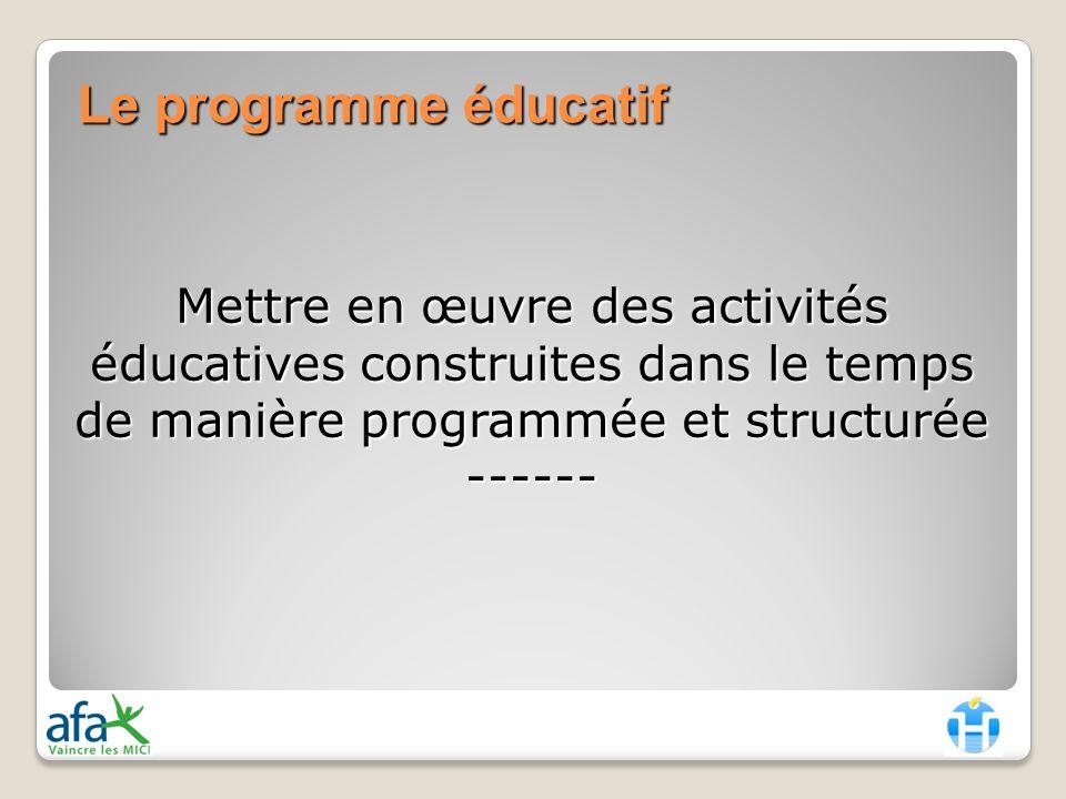 Mettre en œuvre des activités éducatives construites dans le temps de manière programmée et structurée ------ Le programme éducatif