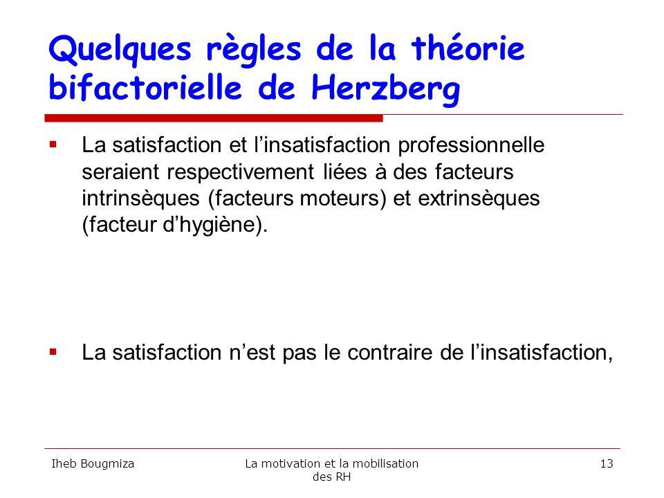 Quelques règles de la théorie bifactorielle de Herzberg La satisfaction et linsatisfaction professionnelle seraient respectivement liées à des facteur