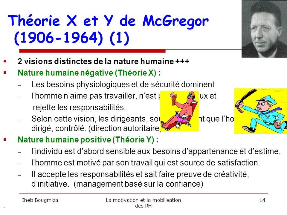 Théorie X et Y de McGregor (1906-1964) (1) 2 visions distinctes de la nature humaine +++ Nature humaine négative (Théorie X) : Les besoins physiologiq