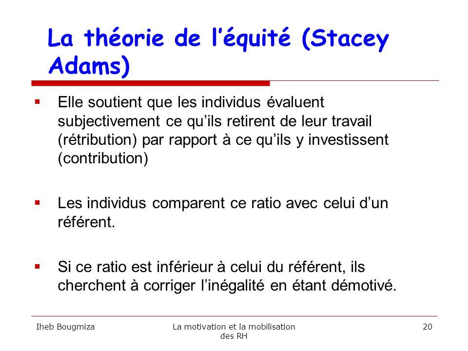 La théorie de léquité (Stacey Adams) Elle soutient que les individus évaluent subjectivement ce quils retirent de leur travail (rétribution) par rappo