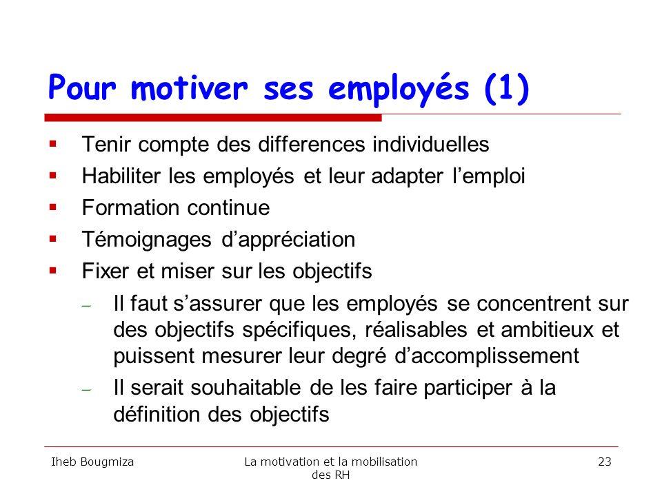 Pour motiver ses employés (1) Tenir compte des differences individuelles Habiliter les employés et leur adapter lemploi Formation continue Témoignages