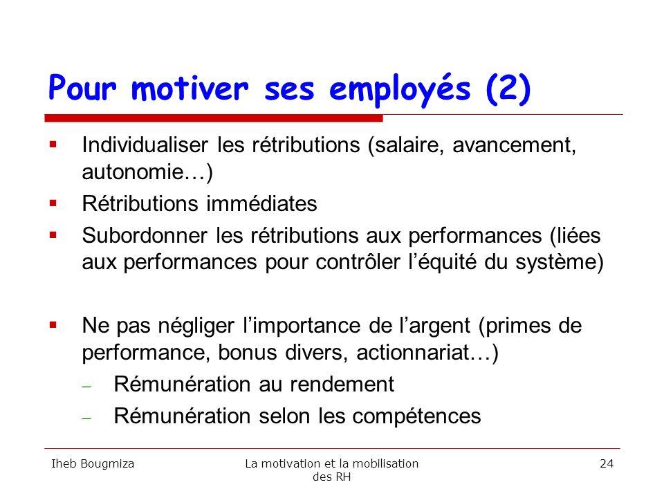Pour motiver ses employés (2) Individualiser les rétributions (salaire, avancement, autonomie…) Rétributions immédiates Subordonner les rétributions a