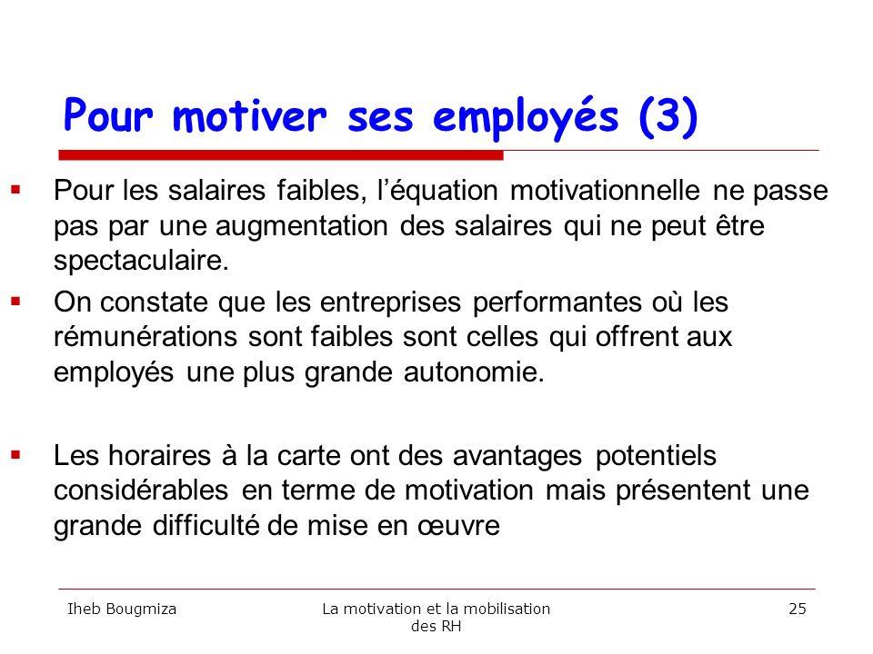 Pour motiver ses employés (3) Pour les salaires faibles, léquation motivationnelle ne passe pas par une augmentation des salaires qui ne peut être spe