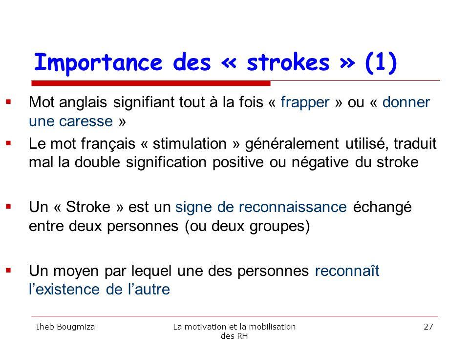 Importance des « strokes » (1) Les strokes sont indispensables à la survie biologique et psychologique des individus Les strokes peuvent être positifs ou négatifs Un stroke positif correspond à la reconnaissance des qualités de lautre Un stroke négatif correspond à la dévalorisation de lautre Un individu préfère un stroke négatif à labsence de stroke Chaque individu a un canal préférentiel pour recevoir les strokes : le regard, la voix, lécriture, la proximité, le contact,… Iheb BougmizaLa motivation et la mobilisation des RH 28
