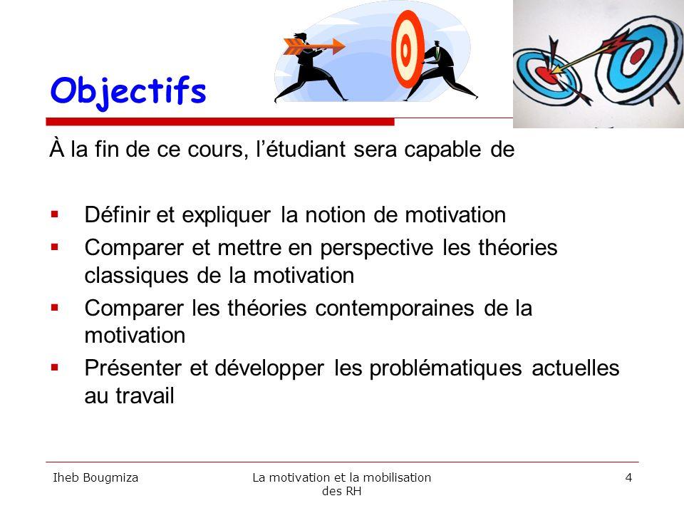 Objectifs À la fin de ce cours, létudiant sera capable de Définir et expliquer la notion de motivation Comparer et mettre en perspective les théories