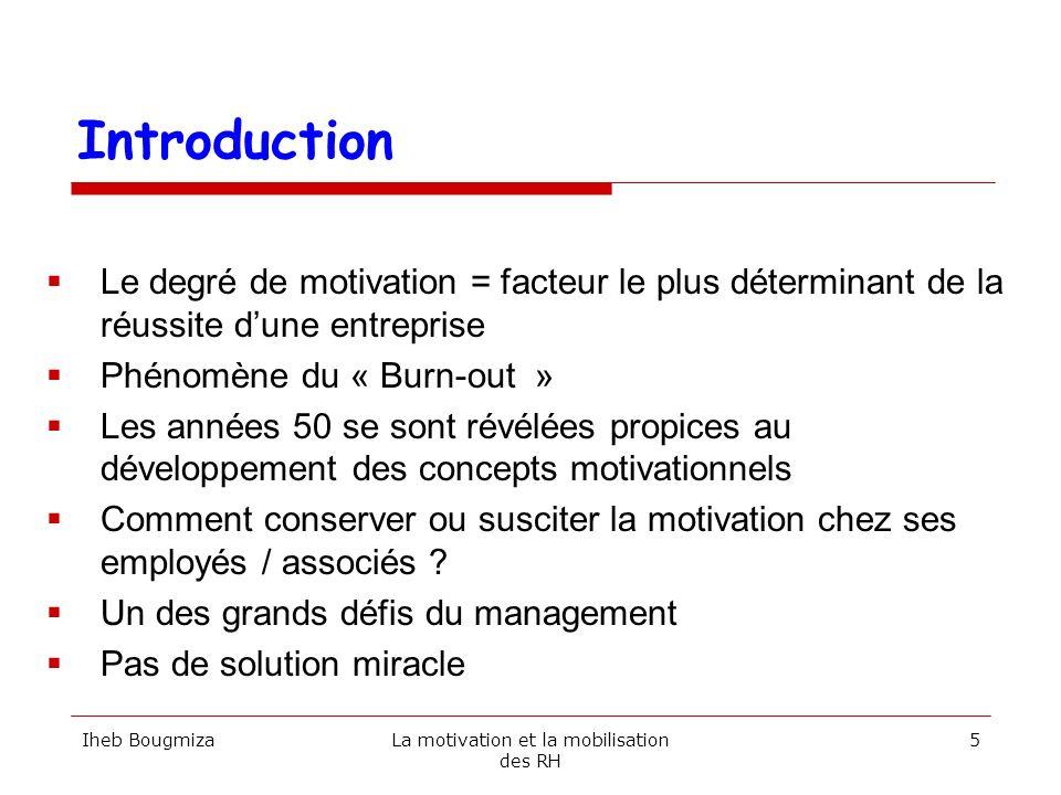 Introduction Le degré de motivation = facteur le plus déterminant de la réussite dune entreprise Phénomène du « Burn-out » Les années 50 se sont révél