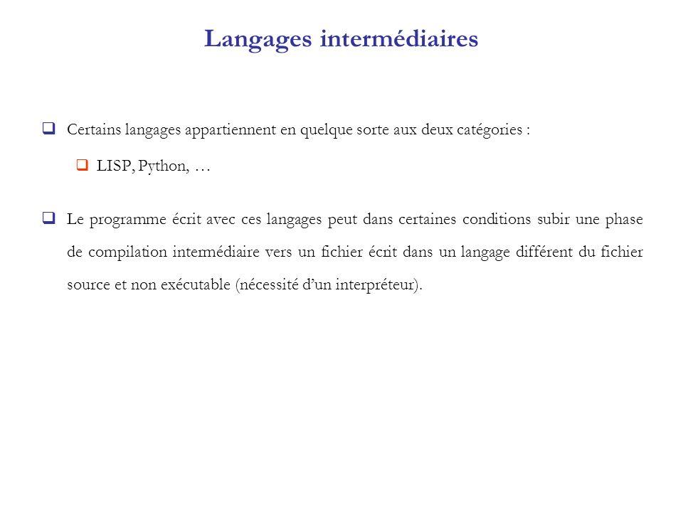Langages intermédiaires Certains langages appartiennent en quelque sorte aux deux catégories : LISP, Python, … Le programme écrit avec ces langages pe