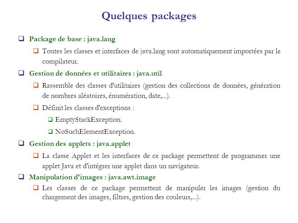 Quelques packages Package de base : java.lang Toutes les classes et interfaces de java.lang sont automatiquement importées par le compilateur. Gestion