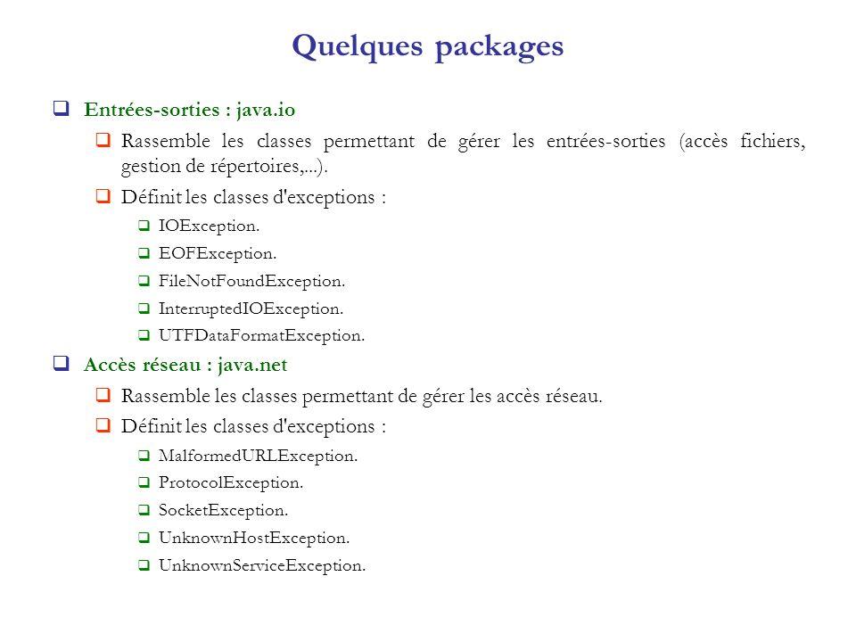Quelques packages Entrées-sorties : java.io Rassemble les classes permettant de gérer les entrées-sorties (accès fichiers, gestion de répertoires,...)