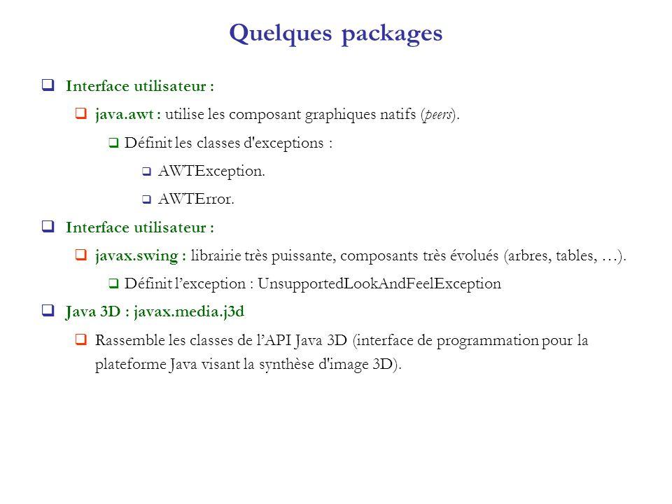 Quelques packages Interface utilisateur : java.awt : utilise les composant graphiques natifs (peers). Définit les classes d'exceptions : AWTException.
