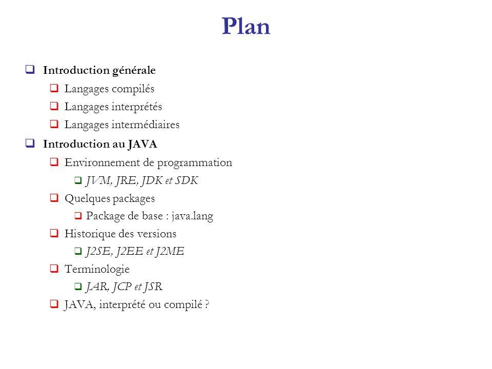Plan Introduction générale Langages compilés Langages interprétés Langages intermédiaires Introduction au JAVA Environnement de programmation JVM, JRE