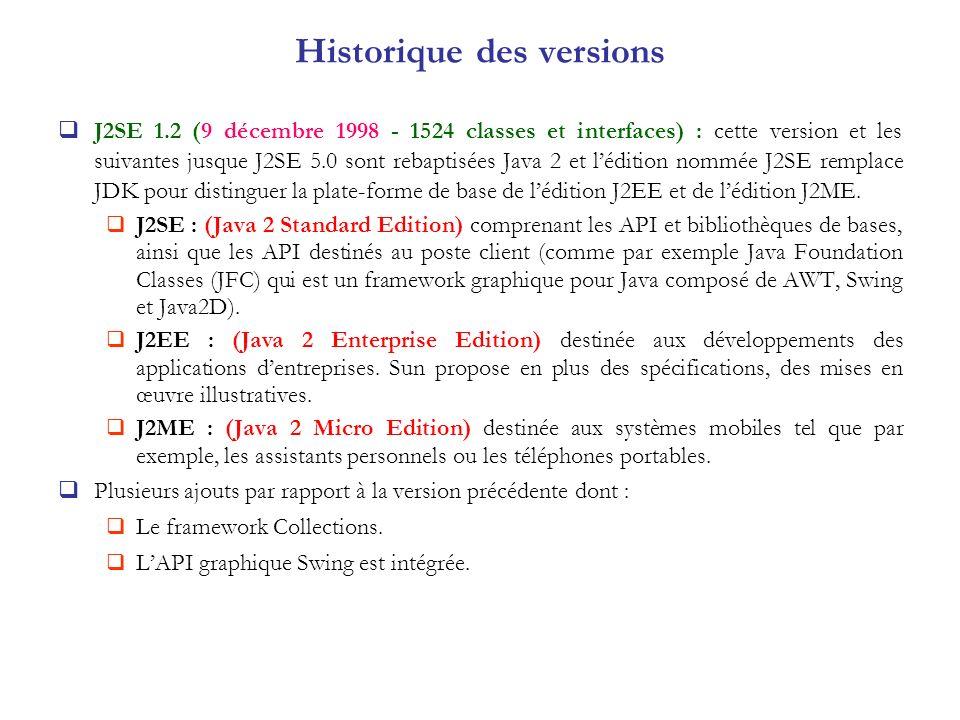 J2SE 1.2 (9 décembre 1998 - 1524 classes et interfaces) : cette version et les suivantes jusque J2SE 5.0 sont rebaptisées Java 2 et lédition nommée J2