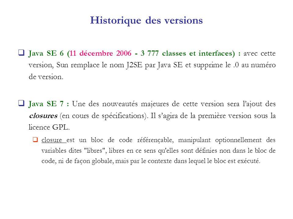 Java SE 6 (11 décembre 2006 - 3 777 classes et interfaces) : avec cette version, Sun remplace le nom J2SE par Java SE et supprime le.0 au numéro de ve