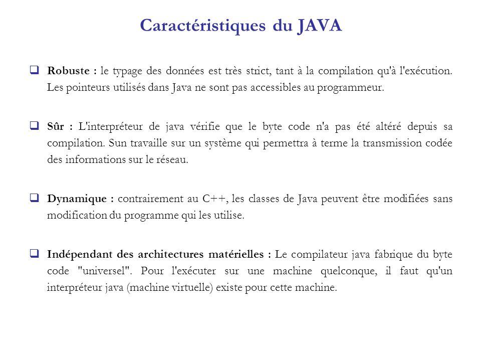 Robuste : le typage des données est très strict, tant à la compilation qu'à l'exécution. Les pointeurs utilisés dans Java ne sont pas accessibles au p