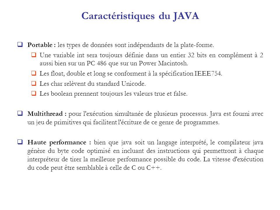 Caractéristiques du JAVA Portable : les types de données sont indépendants de la plate-forme. Une variable int sera toujours définie dans un entier 32